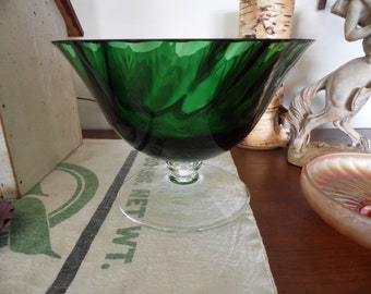 Large Green Glass Compote, Big Green Glass Bowl, Large Green Glass Pedestal Bowl, Very Heavy Glass Fruit Bowl, Centerpiece Bowl