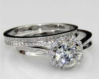 1ct Center Round Esdomera Moissanite Bridal Set Halo Style Pave Set 14k White Gold Engagement Ring Wedding Band (CFR0390WS-ESMS1CT)