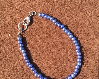 Metallic Blue Beaded Bracelet