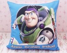 Cartoon Throw Pillow Case Cushion Cover - Buzz Lightyear Nursery - Baby Kids Children Name - Canvas Linen