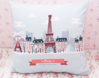 Paris Cushion Cover - France Throw Pillow Cover - Canvas Linen