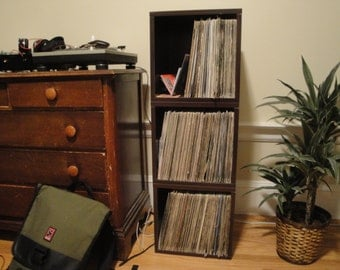 Vinyl Record Storage Cube and Stackable Record Album Storage by Way Basics - Fits 65 to 70 records