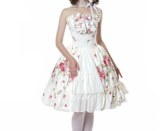 Classic Lolita Spiral Steel Boned Corsage Dress & Choker Set