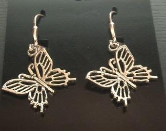 Silver Butterfly Dangle Style Pierced Earrings