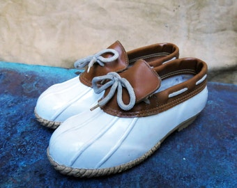 White Duck Boots with Leather, Womens Size 7