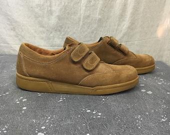 Vintage Suede Velcro Shoes 70s Ranchos Gum Sole// Hipster Mod Beat Mens Size 9, Womens 10.5