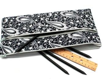 Sale! Large Paisley Pencil case/ Makeup Bag 24cmx14.5cm With Two Pockets