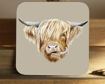 Set of 4 Scottish Highland Cow Coasters