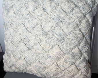 """Entrelac Cushion Cover 16"""", 40.5cm, Silver Fleck, Smoke, Hand Knitted, 20% Wool, Basketweave, Interlace,Pillow,Throw,Textured,Fathers Day"""