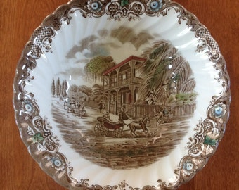 """Johnson Bros HERITAGE HALL French Provincial 8"""" Vegetable Serving Bowl New Orleans Brown Polychrome Transferware England (2 Avail.)"""