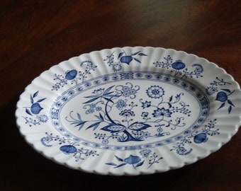 J&G Meakin England BLUE NORDIC Ironstone 12 Inch Oval Serving Platter (2 Available!)!