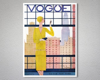 Vogue Cover Mai 9, 1928 Vintage Vogue Poster - Poster Print, Sticker or Canvas Print