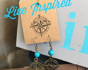 Turquoise Compass Earrings