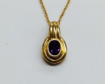 """Amethyst pendant with   18"""" chain; 14k yellow gold; 7x5 mm oval stone; deep purple; February birthstone, gift for her; ON SALE"""