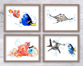 Disney Dory, Dory Print, Finding Dory, Dory Watercolor, Dory Wall, Finding Nemo, set of 4, Dory Nursery, Nemo baby, Mr.Ray, Nemo Anchor V104