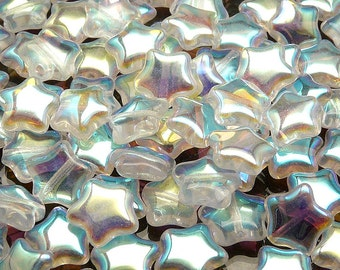 25pcs Czech Pressed Glass Star Beads 12mm Crystal AB