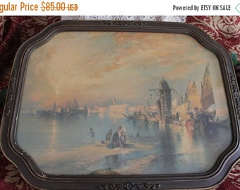 Christmas In July Circa 1920's Italian Water Scene Lithograph in Beautiful Original Period Frame
