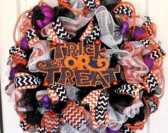 Halloween Trick or Treat Wreath, Black-White-Orange Holiday Wreath, Halloween Decor