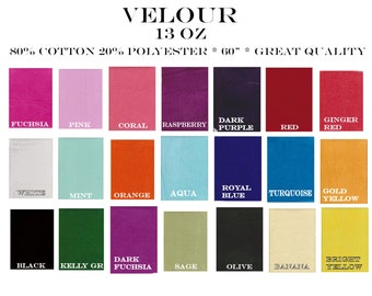 Velour 13 oz cotton Lycra Solids 20 colors pink blue lime red fucshia orange purple turquoise gold aqua sage olive hotpink black knit fabric