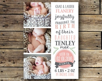 Printable Birth Announcement - Pink and Grey
