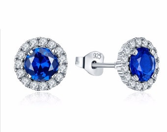 2.00 Carat Designer Halo Style Blue Sapphire and Simulated Diamond Earrings in 925 Sterling Silver and 14K White Gold