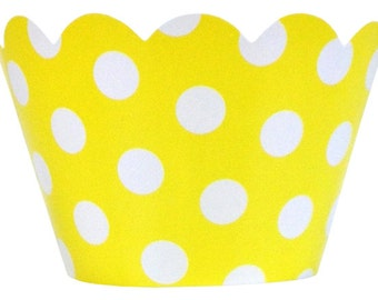 Cupcake Wrapper 20pcs Lemon Yellow with White Polka Dots Just Artifacts Brand CCW200004