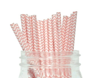 Light Pink Chevron Striped Party Paper Straws 25pcs CSS250021 Just Artifacts Brand