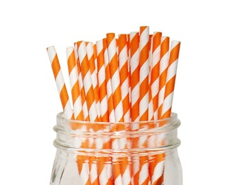 Striped Party Paper Straws 25pcs Orange SPS250077 Just Artifacts Brand