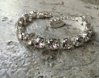 8mm swarovski crystal bracelet, supporting cancer awareness- necklace and earrings available