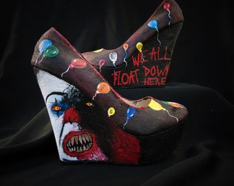 LAST PAIR Pennywise The Clown Hand Painted Wedge Heel Shoes