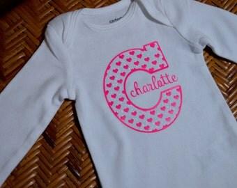 Baby Name & Initial Custom Onesie
