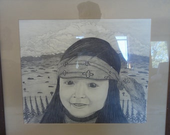 "Native American Pencil Drawing Titiled ""Corn Child."