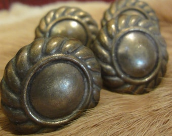 Set Of Four Brass Drawer Pulls/Numbered