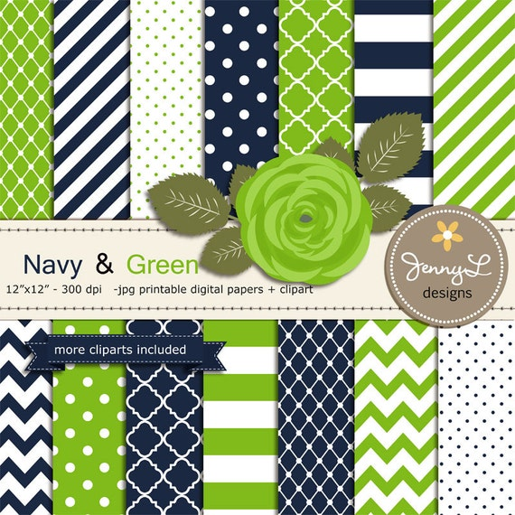 Navy Blue and Green Digital Paper, Lime Rose Flower Clipart for ...