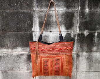 Shoulder Bag, hmong hill tribe, vintage, big handbag, shopper, unique, thai cotton, embroided, ethnic, boho, leather, orange, handmade