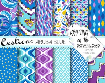 pucci print exotic digital paper pack instant download pucci print digital papers blue purple teal digital paper packs frozen paper pack