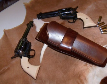 Western leather Holster, hand made dyed and finished brown, revolver dodge city style.