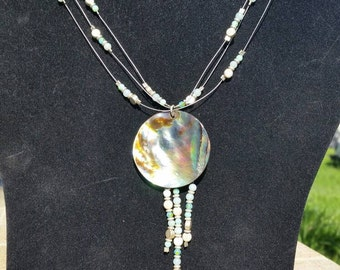 Abalone and Jade floating reversible necklace
