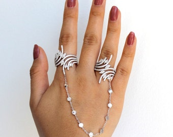 Sterling Silver Double Ring Chain Piece