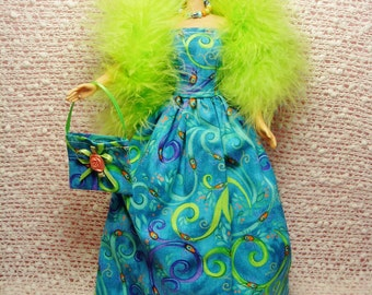 Barbie Clothes - Handmade Blue/Green print Gown, Purse, Necklace, Feather Boa and High Heel Shoes