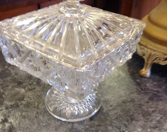 Covered Glass Candy Dish - Great Christmas Gift