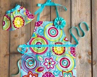 Toddler Apron - Kids Apron - Preschool Graduation Gift - Floral Girls Apron - Childrens Aprons - Matching Aprons -  Girl Birthday Gift