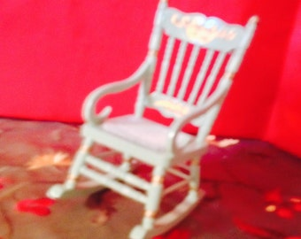 Mini Rocking Chair Hand Painted with Dainty Flowers