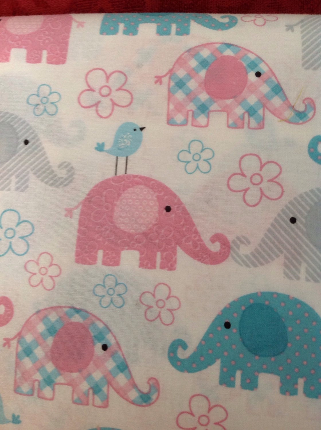 Elephant fabric child 39 s play white fabric with pink for Grey childrens fabric
