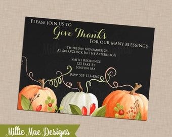 SALE 25% OFF Custom Watercolor Thanksgiving - Harvest - Autumn - Fall Invitation