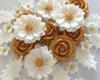 WHITE GOLD CHRISTMAS Bouquet edible sugar flowers cake decorations toppers