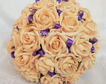 Artificial Gold Rose Bridal Bouquet with Gold Foam Roses, Diamantes Ribbon, silk wedding flowers