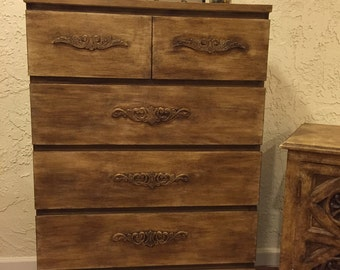 Rustic look tall dresser