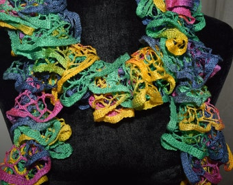 Spring Multi-color Ruffle Scarf, Fishnet Scarf, Fashion Scarf