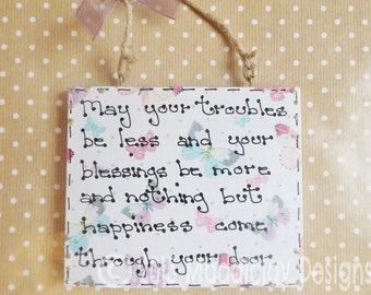 Home Blessing Quote Plaque Wall Hanging Ornament Housewarming Gift